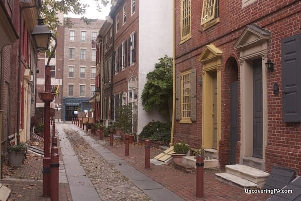 VIsiting Elfreth's Alley in Philadelphia, Pennsylvania.
