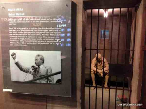 A tribute to Nelson Mandela in the National Liberty Museum's Hero's Hall.