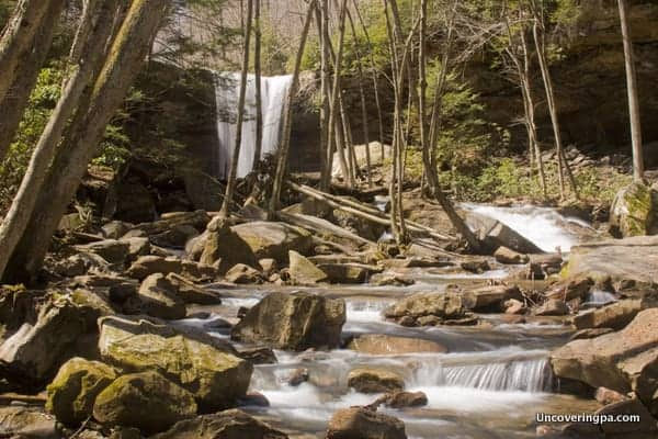 A view of many waterfalls at Cucumber Waterfall in Pennsylvania.