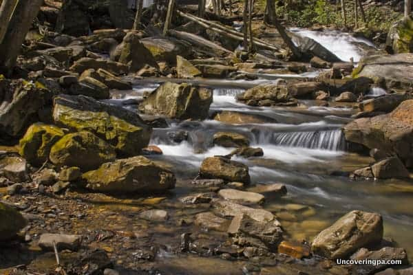A set of smaller falls further downstream from Cucumber Falls in Ohiopyle State Park.