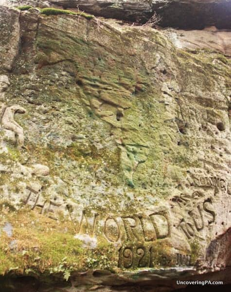 A rock carving of the Americas at Bilger's Rocks.