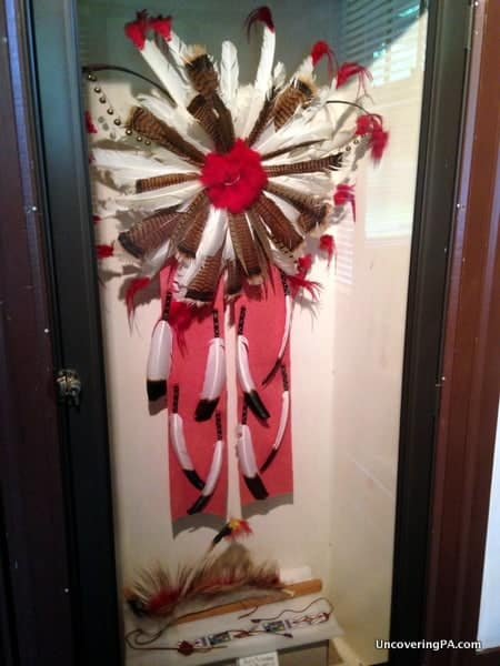 A headdress on display at the Indian Steps Museum near Airville, Pennsylvania.