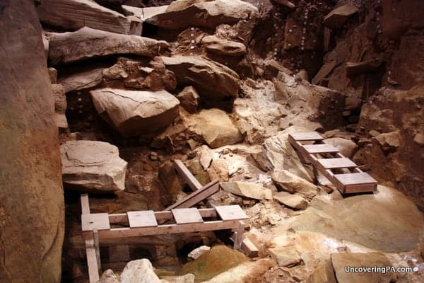 The excavated area of Meadowcroft Rockshelter as yielded 20,000 artifacts.