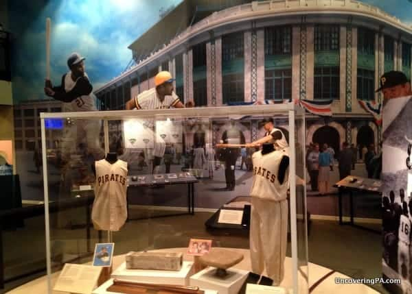 Pirates memorabilia on display at the Western Pennsylvania Sports Museum inside the Heinz History Center.
