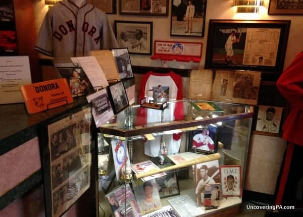 Stan Musial memorabilia inside the Donora Smog Museum.