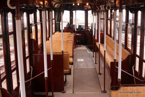 The interior of a restored trolley at the Pennsylvania Trolley Museum.