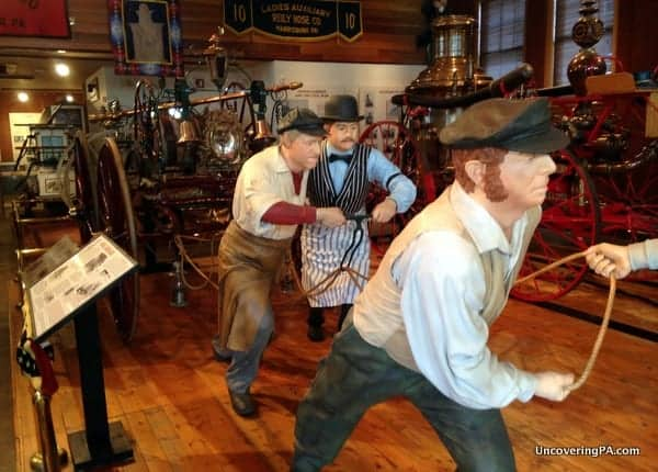 A diorama of old firefighting techniques sets the stage for the fabulous Pennsylvania Fire Museum in Harrisburg.