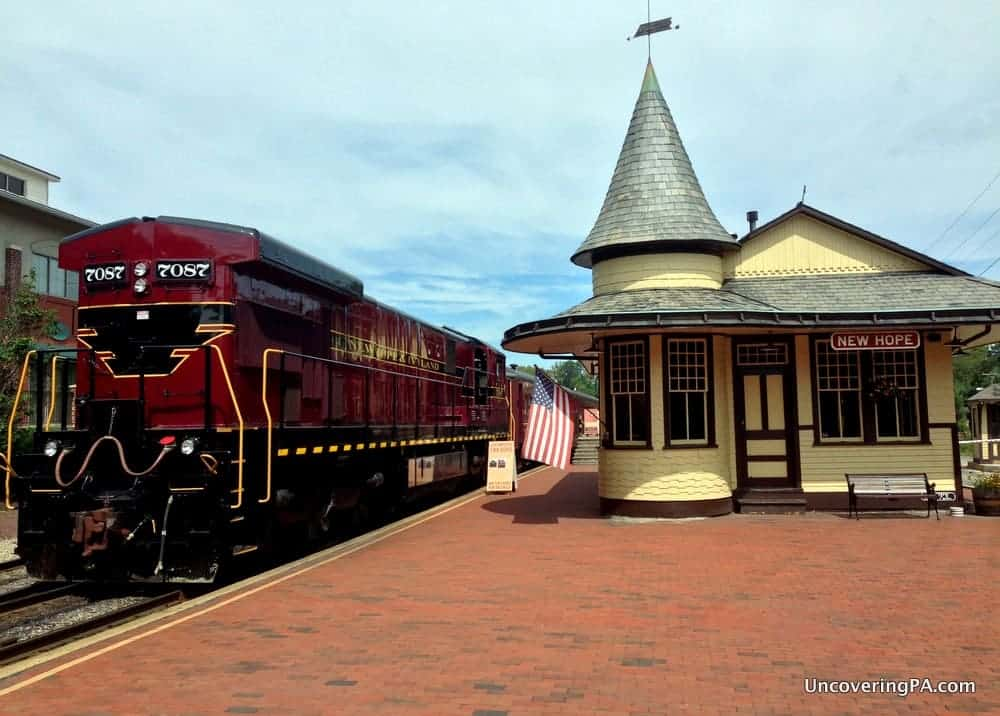 Riding the New Hope and Ivyland Railroad in New Hope, Pennsylvania.
