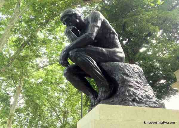 The Thinker by Rodin outside the Rodin Museum in Philadelphia, Pennsylvania.