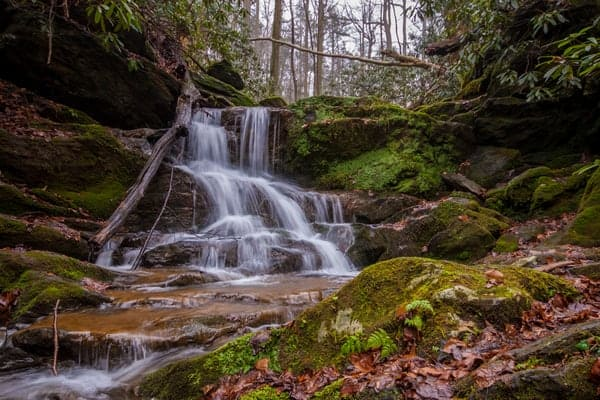 Upper Mill Creek Falls along the Mason-Dixon Trail in York County, Pennsylvania.