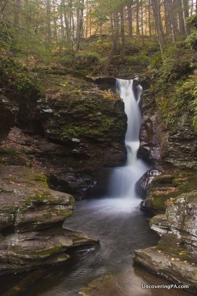 The upper chute of Adams Falls at Ricketts Glen State Park in Pennsylvania.