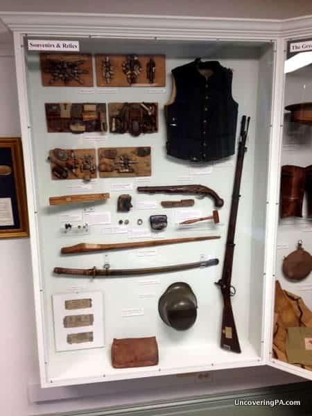 A display case full of war relics at the Bradford County Museum in Towanda, Pennsylvania.