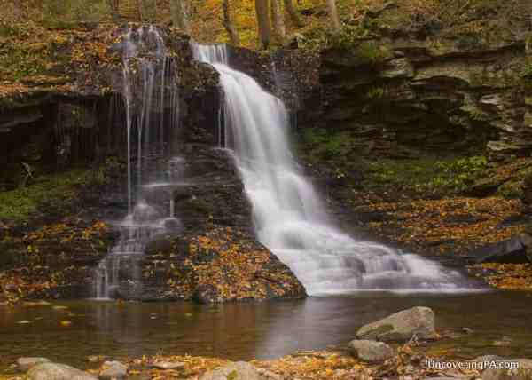 Visiting Dry Run Falls in Loyalsock State Forest in Sullivan County, Pennsylvania.