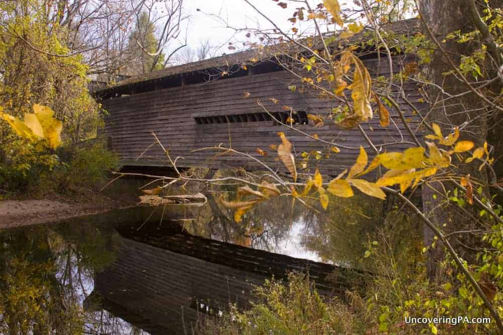Visiting Kennedy Covered Bridge in Chester County, Pennsylvania.