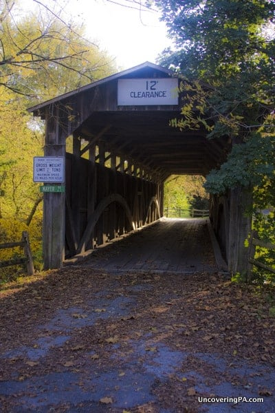 The entrance to Lehman's Covered Bridge.