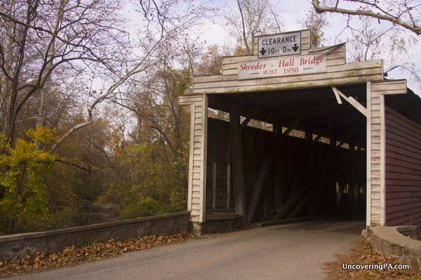 The entrance to Sheeder-Hall Covered Bridges in Chester County, Pennsylvania.
