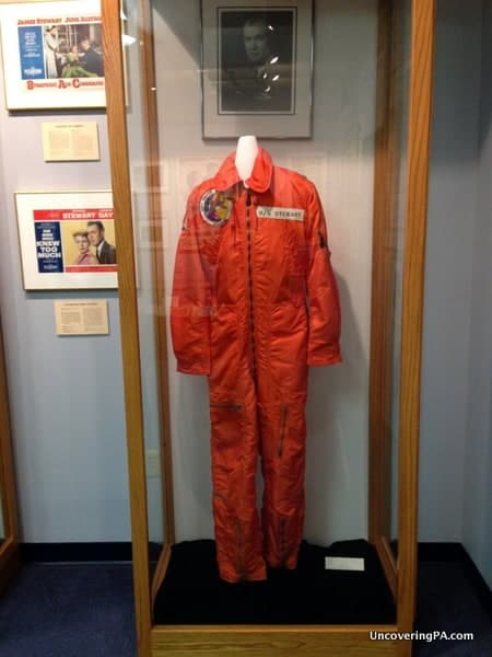 Jimmy Stewart's flight suit on displaying while visiting the Jimmy Stewart Museum in Indiana, Pennsylvania.