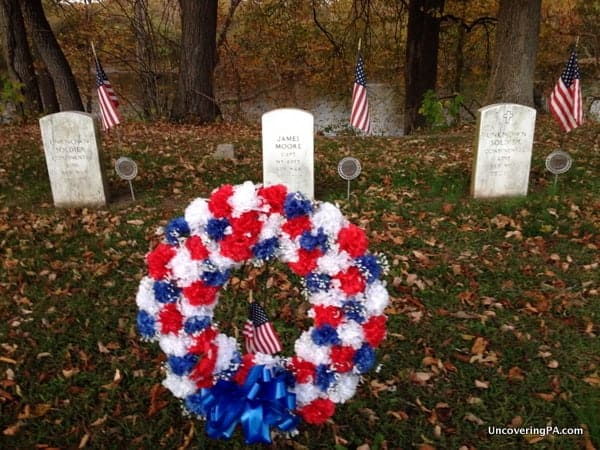 Three Revolutionary War-era graves at Washington Crossing Historic Park.