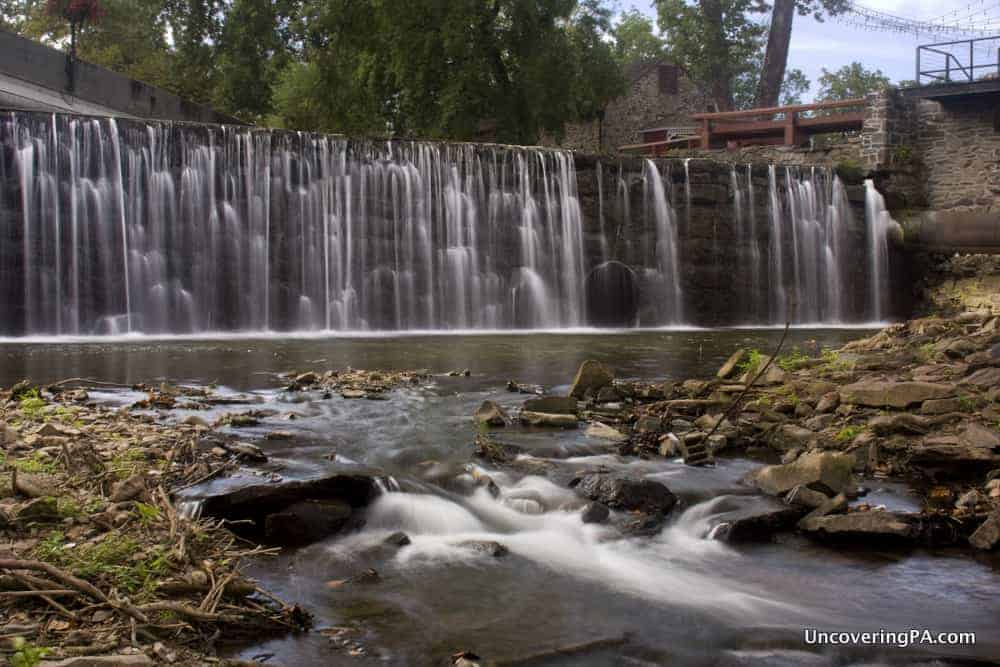 Aquetong Creek Dam Waterfall in New Hope, Pennsylvania.