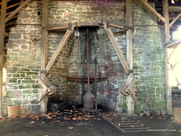 The remains of an iron furnace at Hopewell Furnace National Historic Site.