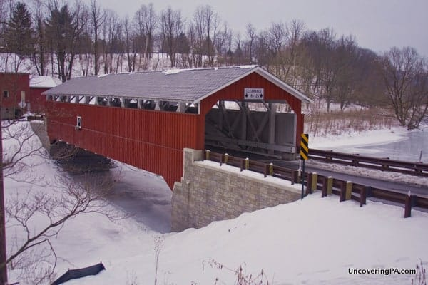 Looking over Schlicher's Covered Bridge in Lehigh County, Pennsylvania