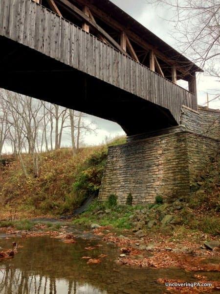 Visiting Knapp Covered Bridge in Bradford County, Pennsylvania.