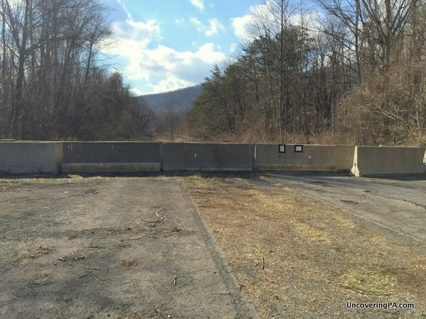 The parking area for the abandoned turnpike near Sideling Hill Tunnel in Fulton County, PA.