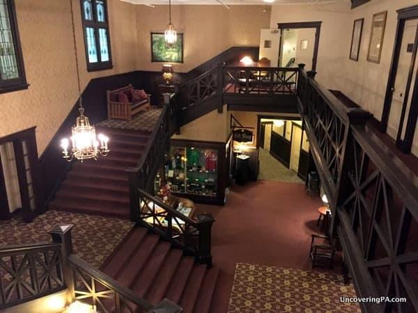 Lobby of the Historic Summit Inn in Pennsylvania's Laurel Highlands.