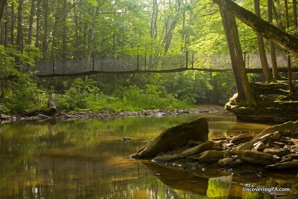 Hiking in Trough Creek State Park on its Suspension Bridge