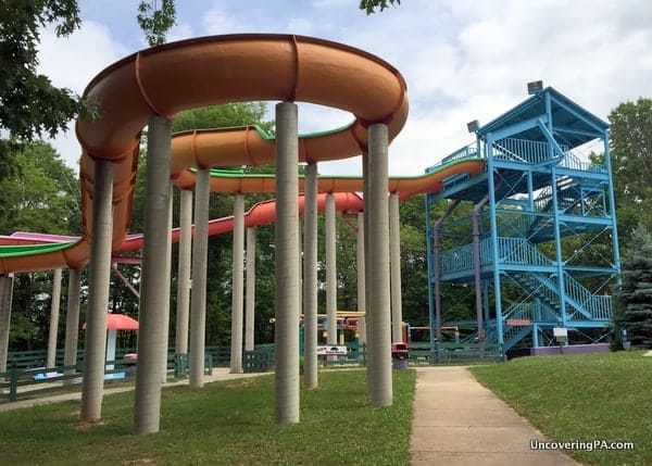 The slides at WildRiver Waterpark at Lake Raystown Resort.