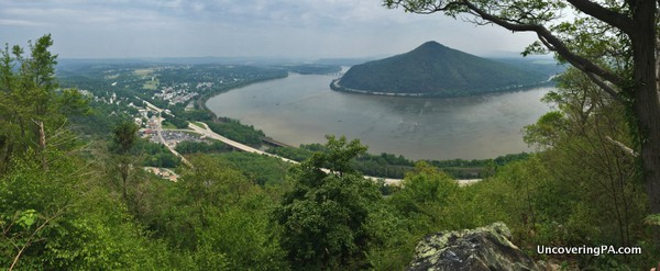 A panoramic look at the view from Cove Mountain Overlook near Duncannon, Pennsylvania.