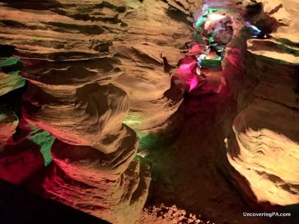 Columns inside Laurel Caverns in the Laurel Highlands