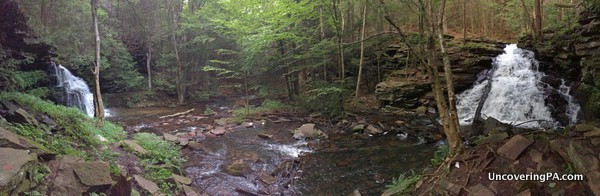 Panorama of Rosecrans Falls and McElhattan Falls in Clinton County, PA