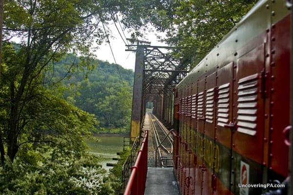 The Kiski Junction Railroad travels along the Allegheny River near Kittanning Pennsylvania