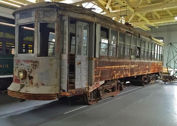 Deteriorated trolley on display at the Electric City Trolley Museum in Scranton, Pennsylvania.