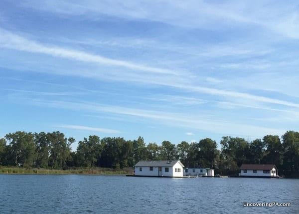 Floating homes on Lake Erie in Pennsylvania