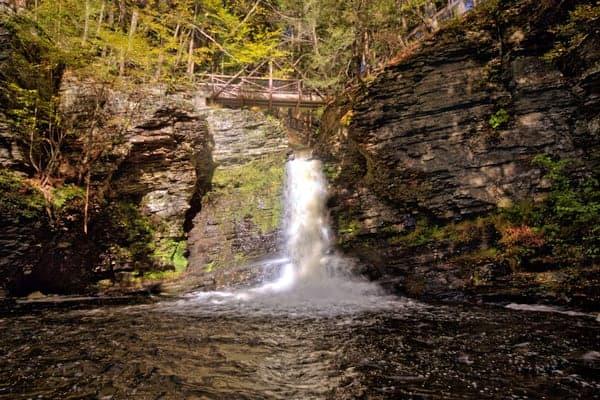 Deer Leap Falls in the Delaware Water Gap of Pennsylvania.