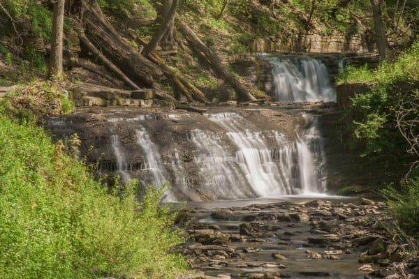 The twin waterfalls of East Park in Connellsville, Pennsylvania.