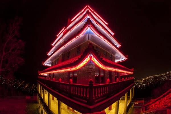 Nighttime at the Reading Pagoda in Berks County, Pennsylvania