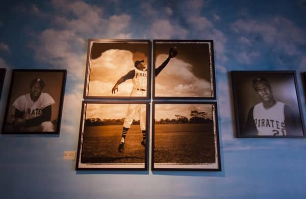 Roberto Clemente Angle Wings Photo on display at the Roberto Clemente Museum in Pittsburgh, PA