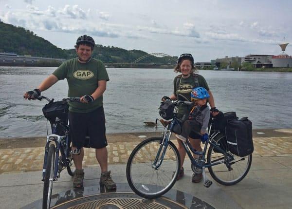 Famliy riding Great Allegheny Passage
