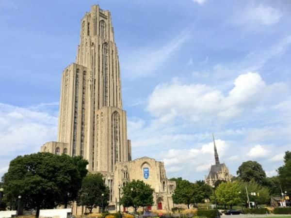 The beautiful Cathedral of Learning towers over the University of Pittsburgh.