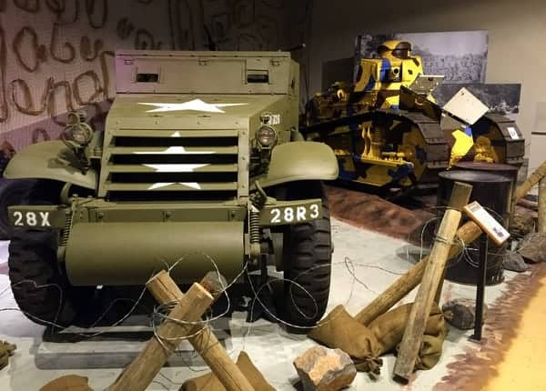 Military vehicles on display at the Pennsylvania Military Museum in Boalsburg, PA