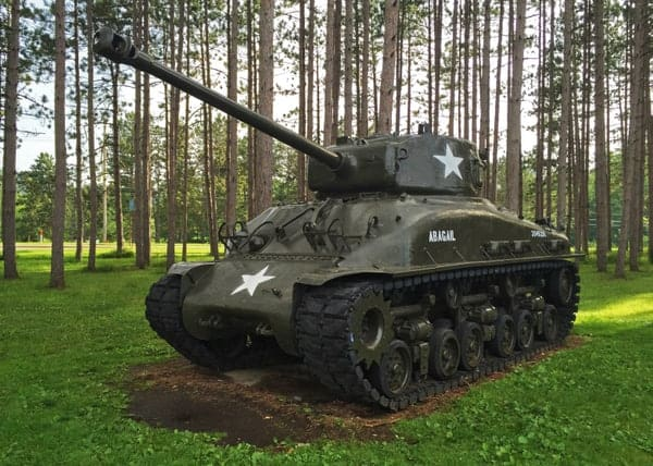 A Sherman tank sits outside of the Pennsylvania Military Museum in Centre County, PA.