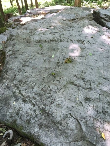 Faith Rock at Scripture Rocks Heritage Park in Brookville, Pennsylvania.