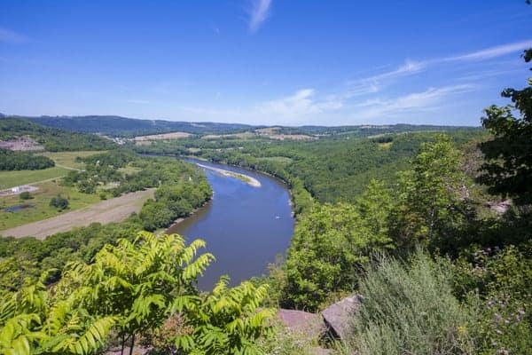View from Wyalusing Rocks in Bradford County, Pennsylvania.
