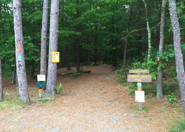 Trail head for Tumbling Waters Trail at the Pocono Environmental Education Center