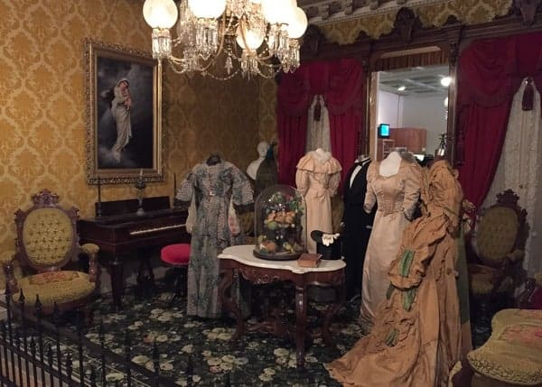 Victorian dresses on display at the Thomas T. Taber Museum in Williamsport, PA