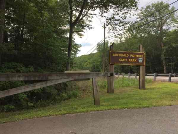 Entrance for Archbald Pothole State Park.