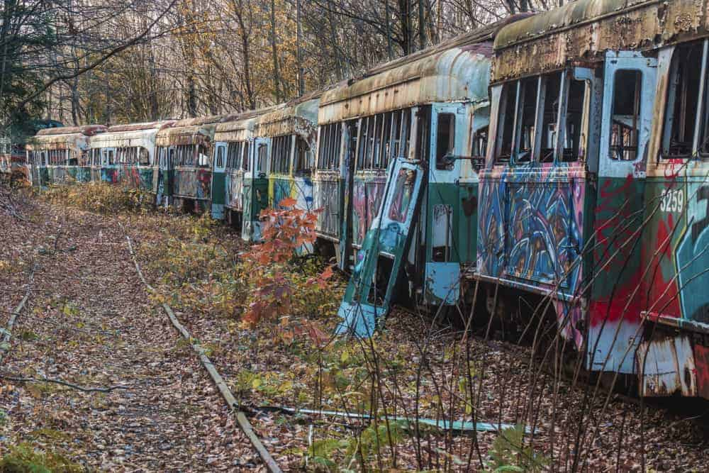 Visiting the Abandoned Trolley Graveyard near Johnstown, PA